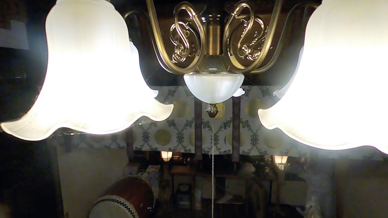 この部屋は照明が洋風で 和洋折衷なのが面白い