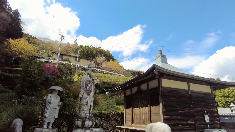 中越家のしだれ桜の横にある法泉寺に参拝する