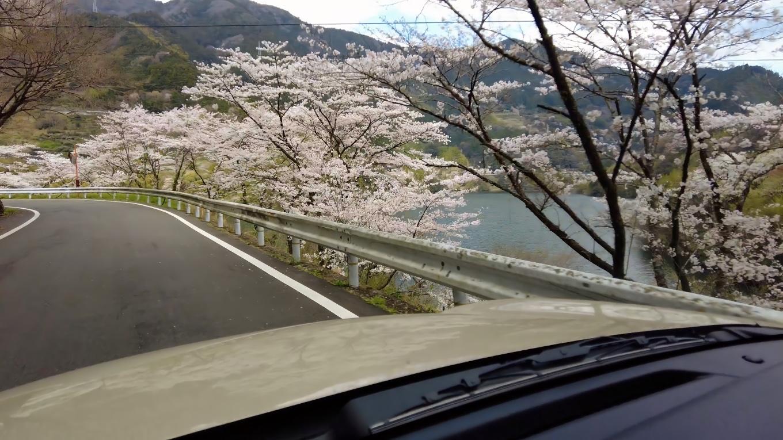 車でダム湖沿いを走る