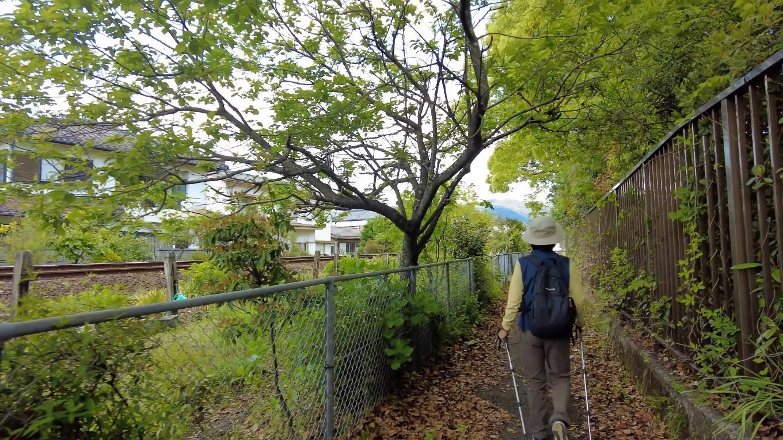 JRの線路沿いに歩いて行く