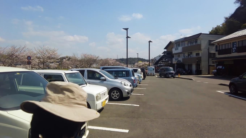 そこから車で 石山寺の駐車場にやってきた