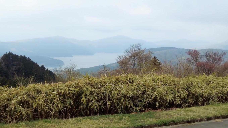 駐車場から芦ノ湖がきれいに見える