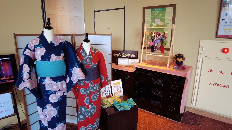 ロビーには岩手県の特産品が展示されている