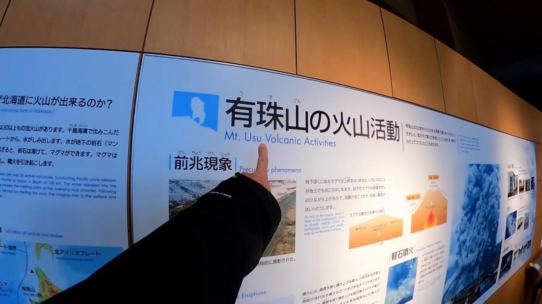 これから登る有珠山の説明パネルもあった