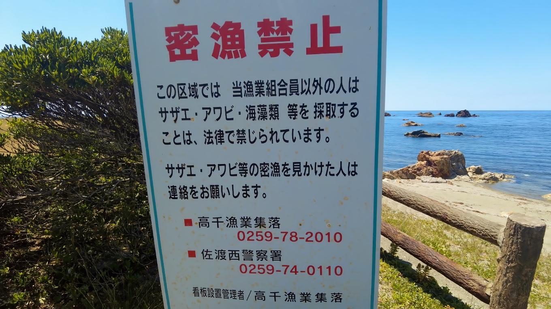密漁禁止の看板がある 苦笑