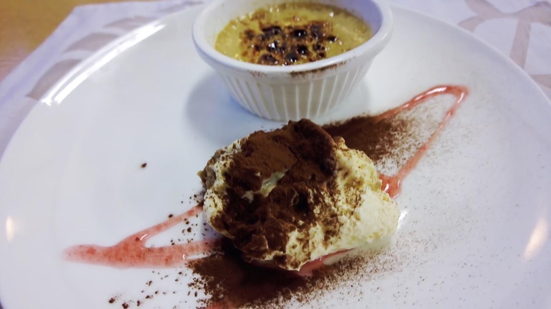デザートは佐渡番茶を使ったクリームブリュレ